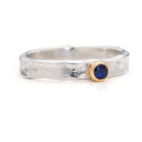designer sapphire silver and gold ring by alison