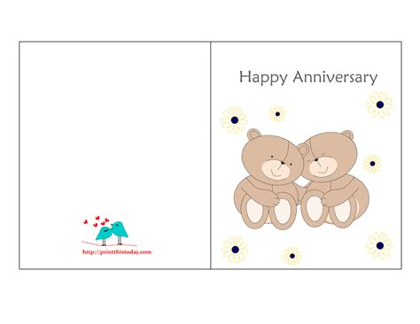 Free Printable Wedding Anniversary Card Templates free printable anniversary cards