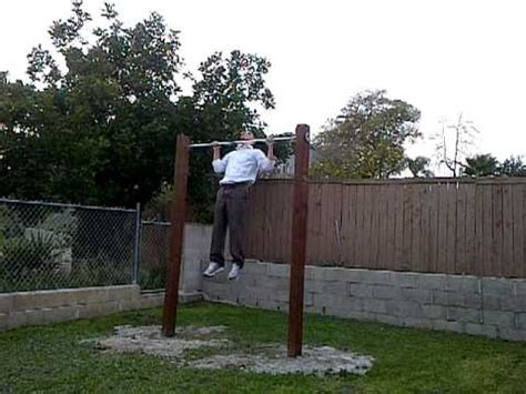 set on new home made outdoor pull up bar