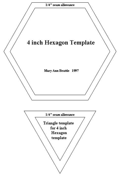 4 inch hexagon template pattern for 4 quilting hexagon and triangle mate