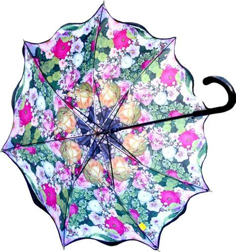 umbrella pattern inside double layer umbrella parasol with floral medley pattern