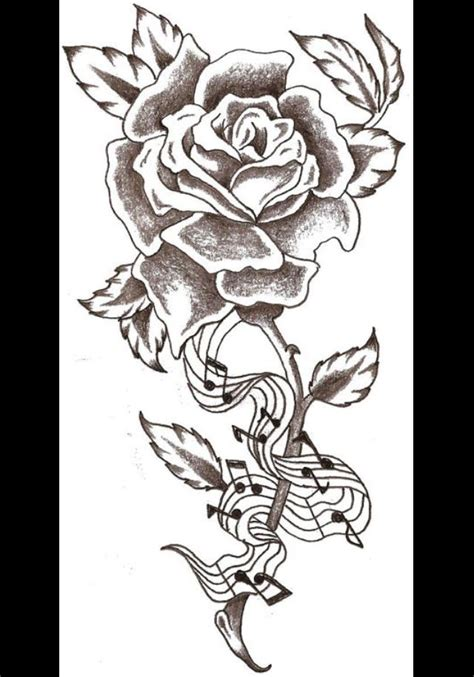 rose and music tattoo note sketch crafts