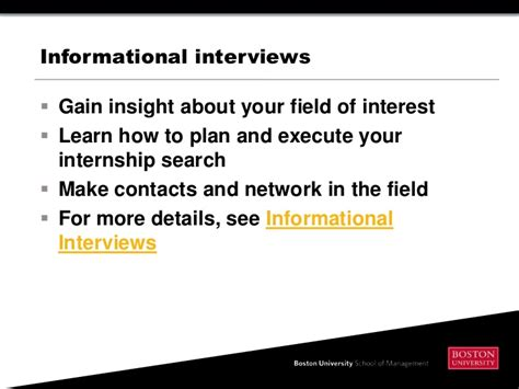 Bu Mba Info Session by How To Find An Internship