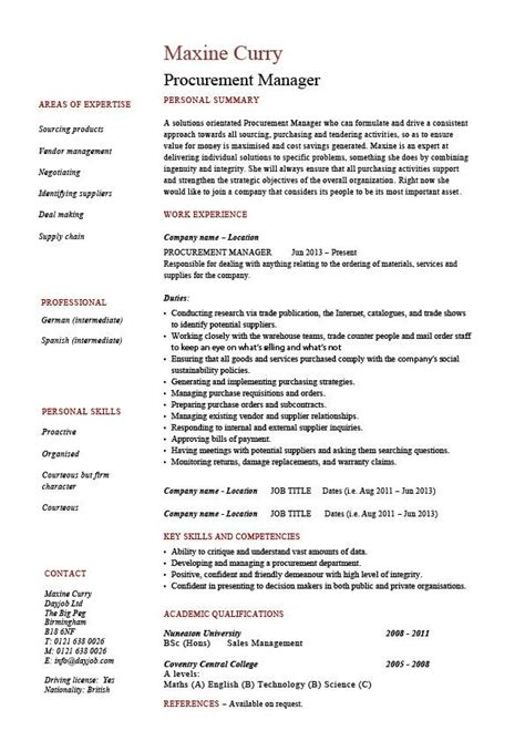 Procurement Resume Format by Procurement Manager Cv Template Description Sle Resume Purchasing Cvs