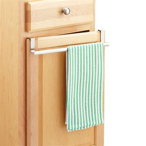 kitchen towel bar under sink stainless steel expandable towel rack the container store