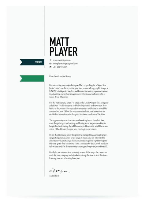 Cover Letter For Designer by Best 25 Cover Letter Design Ideas On Resume