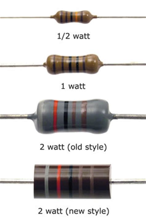 resistor size vs wattage resistor basics freecircuits