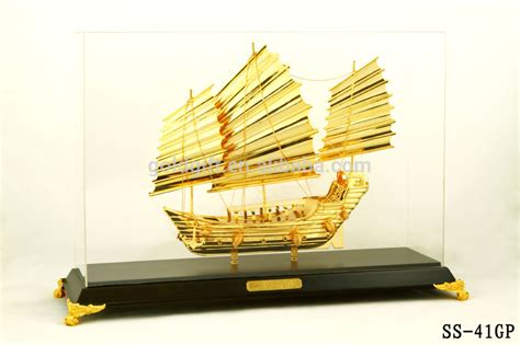 wooden boat gifts golden boat with wooden base for display gifts buy
