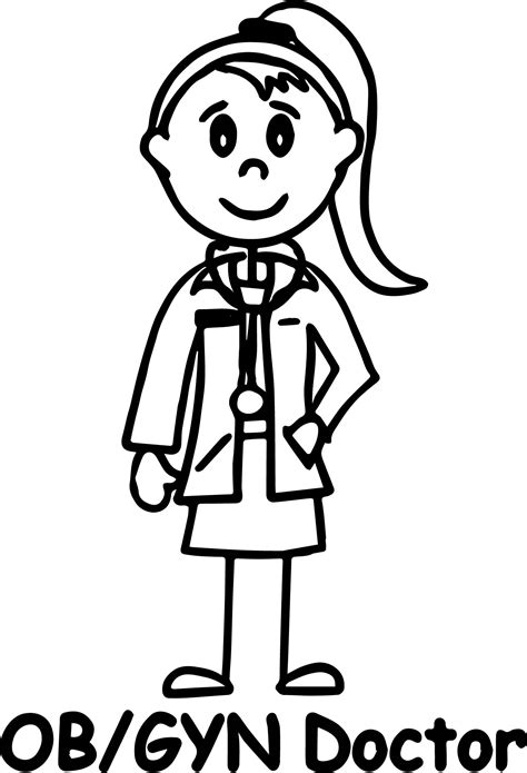 Coloring Pages Girl Doctor | doctor girl coloring page ob gyn doctor wecoloringpage