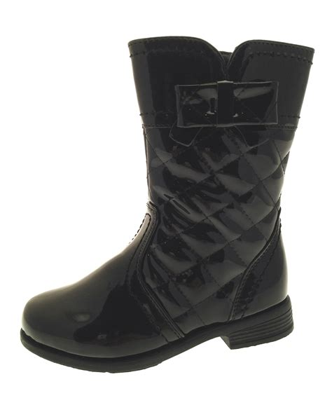 biker boots uk girls kids faux patent leather quilted biker boots black