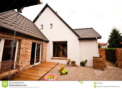 pebbles backyard old house new design architecture stock image image 37786251