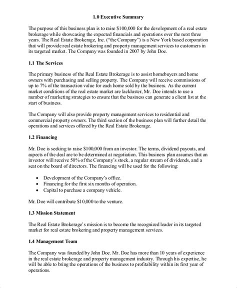 free real estate business plan template real estate business plan 11 free pdf word documemts free premium templates