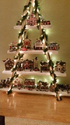 christmas village ladder display department 56 snow display stand snow