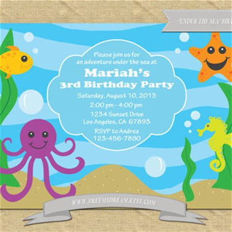 the sea invitations templates the sea themed birthday from freemsdream on etsy