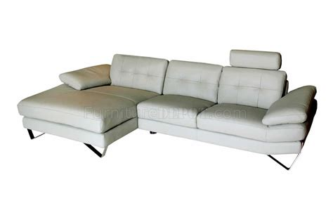 Light Grey Leather Modern Sectional Sofa W Removable Headrests Light Grey Leather Sofa