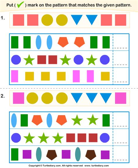 repeating pattern questions match pattern similar to given pattern worksheet turtle