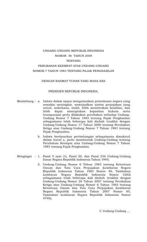 Undang Undang Perpajakan 1 uu pph tahun 2008 pdf soctoday3p