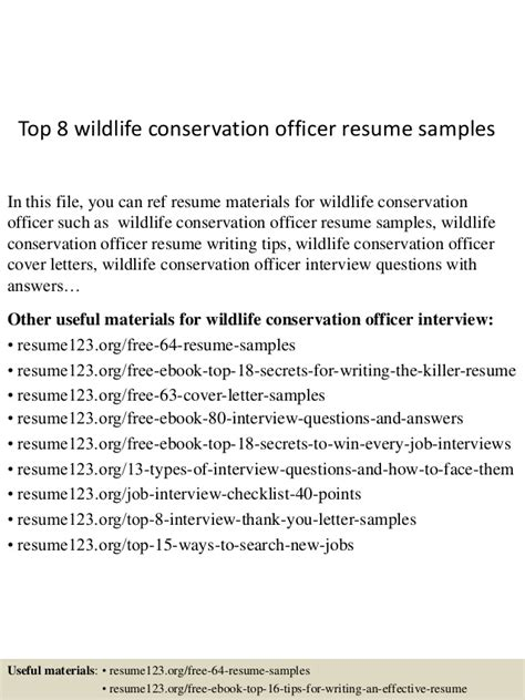 Conservation Officer Cover Letter by Top 8 Wildlife Conservation Officer Resume Sles
