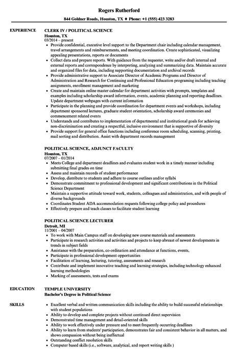 Political Resume by Political Science Resume Sles Velvet