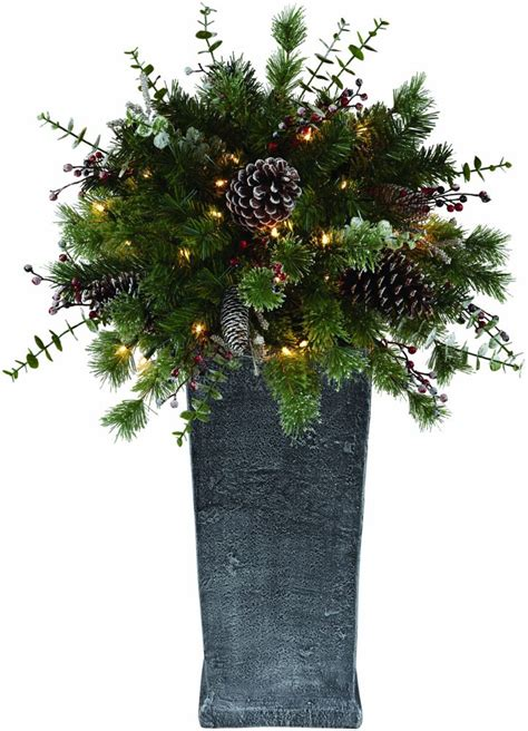 home accent holiday 3 ft pre lit decorated potted