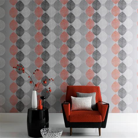 arthouse retro leaf wallpaper orange  silver