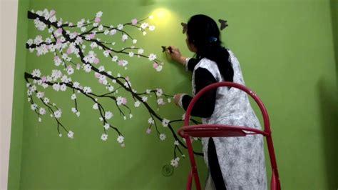 sakura flower mural wall painting youtube cherry blossom flower green wall painting babita keshan