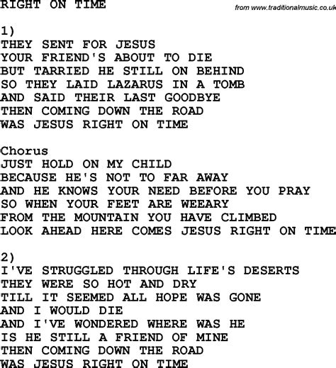 song on country southern and bluegrass gospel song right on time