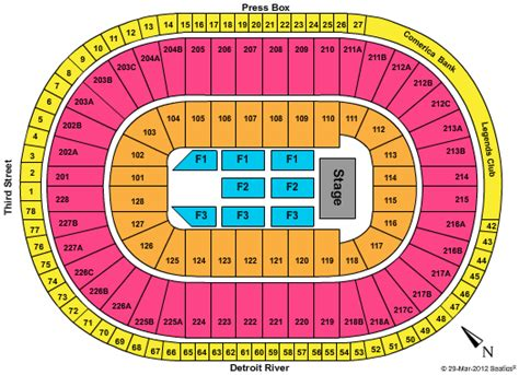 joe louis arena seat map joe louis arena seating chart end stage