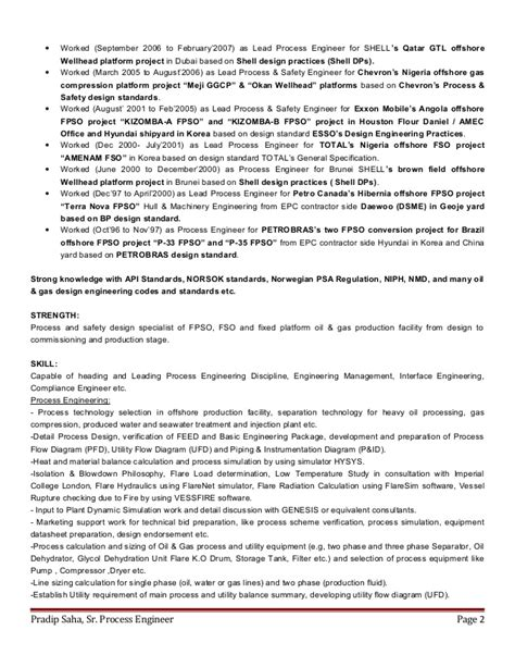 Senior Process Engineer Sle Resume by Cv Of Pradip Saha Ceng Migem Senior Process Engineer 2015