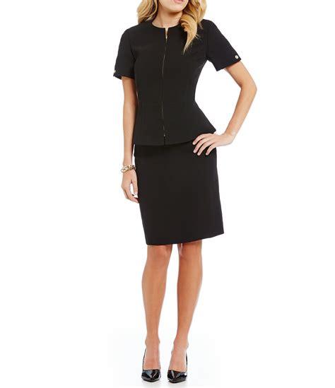 tahari zip front peplum skirt suit in black lyst