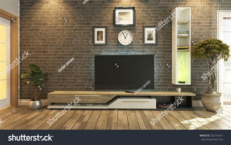 3d tv wall interior design rendering tv unit black brick wall interior stock illustration