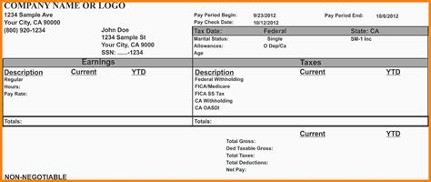 Microsoft Pay Stub Template by 8 Pay Stub Template Microsoft Word Sles Of Paystubs
