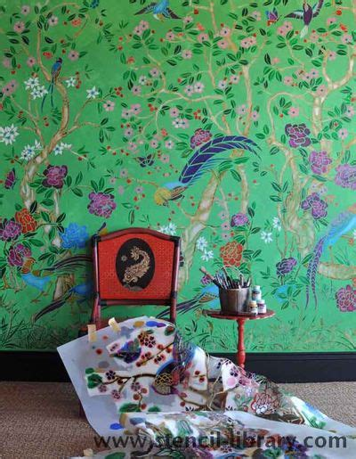 stencilling  chinoiserie wall design inspiration