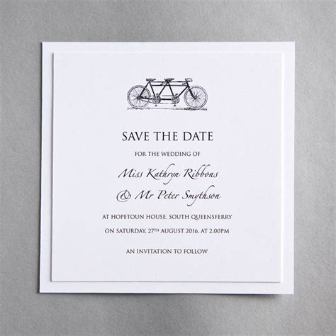 wedding save the date announcement wording tandem bicycle wedding invitation by twenty seven