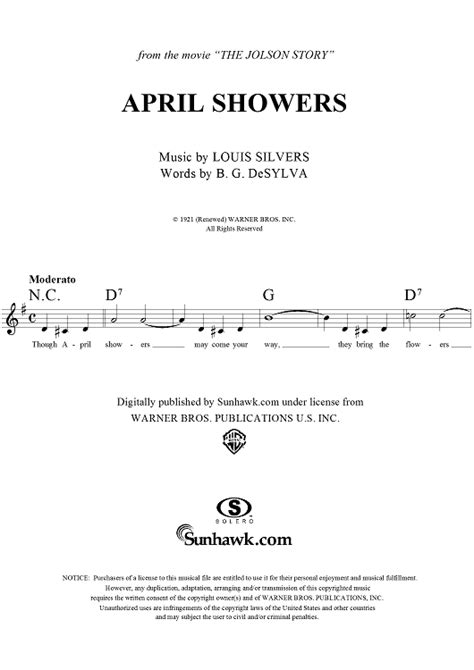 April Showers Song by Louis Silvers April Showers Sheet