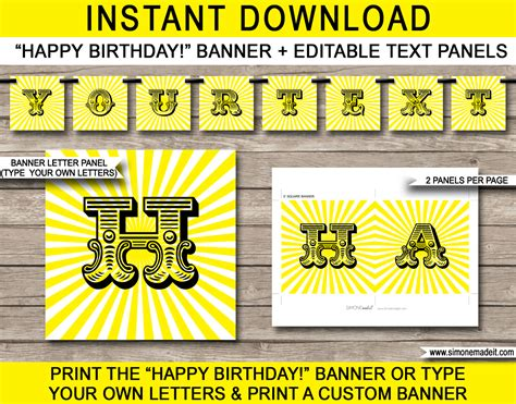 printable text banner sunshine party banner template birthday banner