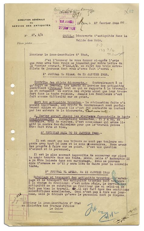 Acceptance Letter From Tut Lot Detail Egyptologist Lacau Typed Letter Signed Regarding The Excavation Of