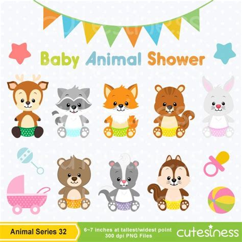 Baby Animal Clipart Baby Shower by Baby Animal Clipart Baby Woodland Animals Clipart Baby