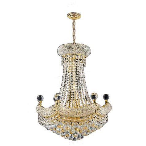 Worldwide Lighting Empire Collection 12 Light Polished Gold And Chandelier