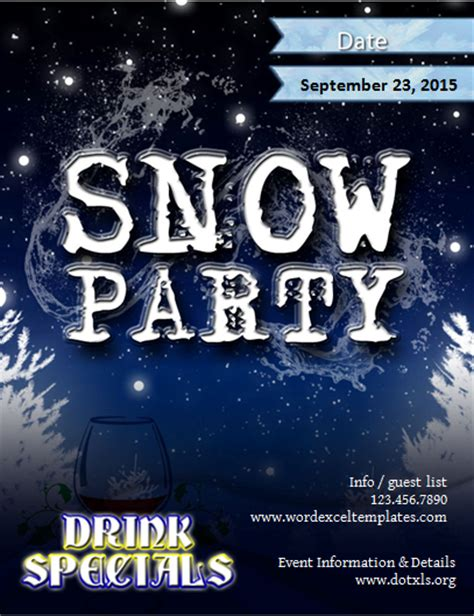 Ms Word Snow Party Flyer Template Word Excel Templates Snowy Flyer Template