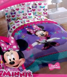 Minnie Mouse Twin Bedding Set Disney Minnie Mouse Loves Bows Purple Twin Comforter