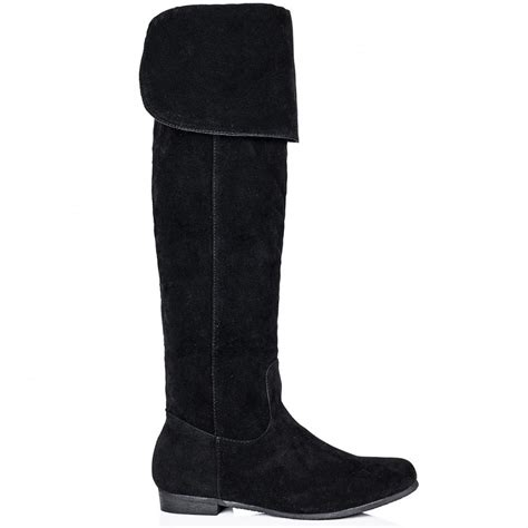 buy alik flat zip knee high boots black suede style
