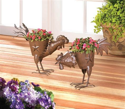 metal rooster planter flower plant pot stand container