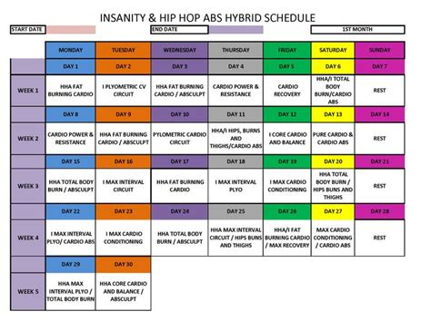 insanity hip hop abs hybrid schedule insanity