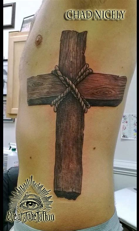 wood grain cross tattoos realistic wood cross rib by chad nicely by