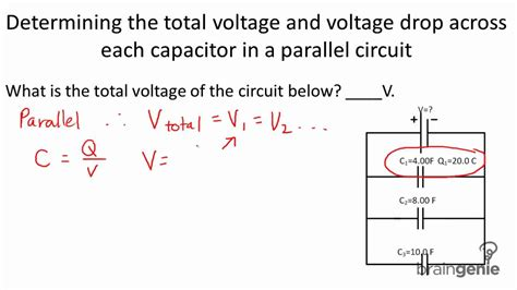 how to calculate capacitor voltage rating physics 6 3 3 3 determining total voltage and voltage drop across capacitor in a parallel