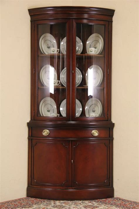 antique corner china cabinet furniture sold drexel travis court mahogany 1950 s vintage curved