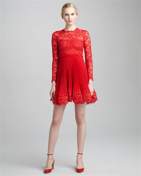 Top 9 Valentino Dresses by Lyst Valentino Sleeve Lace Plisse Dress In