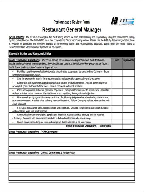 23 Performance Review Form Templates Restaurant Manager Performance Review Template