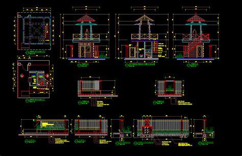 desain gapura cad download gambar kerja desain pos jaga dwg kotakcad